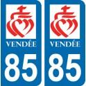 Autocollant Département 85 de la Vendée Coeur-de-Jésus