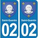 Autocollant Saint-Quentin immatriculation 02