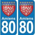 Autocollant Amiens immatriculation 80