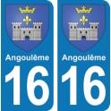 Autocollant Angoulême immatriculation 16