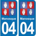 Autocollant Manosque immatriculation 04
