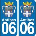 Autocollant Antibes Blason immatriculation 06