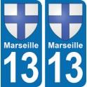 Autocollant Marseille immatriculation 13