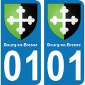 Autocollant Bourg-en-Bresse immatriculation 01