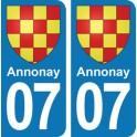 Autocollant Annonay immatriculation 07