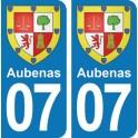Autocollant Aubenas immatriculation 07