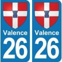 Autocollant Valence immatriculation 26