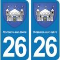 Autocollant Romans-sur-Isère immatriculation 26