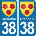 Autocollant Grenoble immatriculation 38