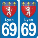 Autocollant Lyon immatriculation 69