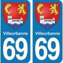Autocollant Villeurbanne immatriculation 69