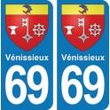 Autocollant Vénissieux immatriculation 69