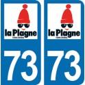 Autocollant La Plagne immatriculation 73
