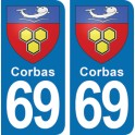 Autocollant Corbas immatriculation 69