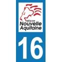 Autocollant Moto Département 16 de la Charente Nouvelle Aquitaine