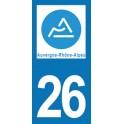 Autocollant Moto 26 de la Drôme nouvelle région Auvergne-Rhône-Alpes