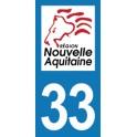 Autocollant Moto Département 33 de la Gironde Nouvelle Aquitaine