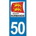 Autocollant Moto Département 50 de la Manche nouvelle région Normandie