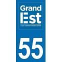 Autocollant Moto Département 55 de la Meuse nouvelle région Grand Est