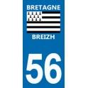 Autocollant Moto Immatriculation 56 - Morbihan