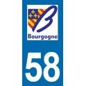 Autocollant Moto Immatriculation 58 - Nièvre
