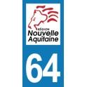 Autocollant Moto Département 64 des Pyrénées-Atlantiques Nouvelle Aquitaine
