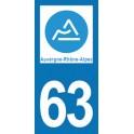 Autocollant Moto 63 Puy-de-Dôme nouvelle région Auvergne-Rhône-Alpes