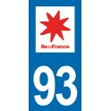 Autocollant Moto Département 93 de la Seine-Saint-Denis