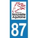 Autocollant Moto Département 87 de la Haute-Vienne Nouvelle Aquitaine
