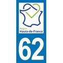 Autocollant Moto Département 62 du Pas de Calais nouvelle région Les Hauts de France