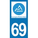 Autocollant Moto 69 du Rhône nouvelle région Auvergne-Rhône-Alpes
