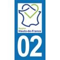 Autocollant Moto Département 02 de l'Aisne nouvelle région Les Hauts de France