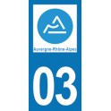 Autocollant Moto 03 de l'Allier nouvelle région Auvergne-Rhône-Alpes