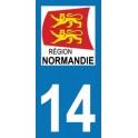 Autocollant Moto Département 14 de Calvados nouvelle région Normandie