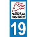 Autocollant Moto Département 19 de la Corrèze Nouvelle Aquitaine