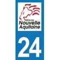 Autocollant Moto Département 24 de la Dordogne Nouvelle Aquitaine