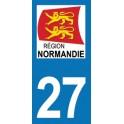 Autocollant Moto Département 27 de l'Eure nouvelle région Normandie
