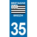 Autocollant Moto Immatriculation 35 - Ille-et-Vilaine