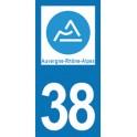 Autocollant Moto 38 de l'Isère nouvelle région Auvergne-Rhône-Alpes