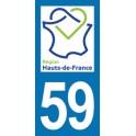 Autocollant Moto Département 59 du Nord nouvelle région Les Hauts de France