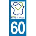 Autocollant Moto Département 60 de l'Oise nouvelle région Les Hauts de France