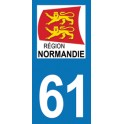 Autocollant Moto Département 61 de l'Orne nouvelle région Normandie