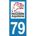 Autocollant Moto Département 79 des Deux-Sèvres Nouvelle Aquitaine