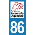 Autocollant Moto Département 86 de la Vienne Nouvelle Aquitaine
