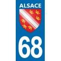 Autocollant Moto Immatriculation 68 - Blason Alsace
