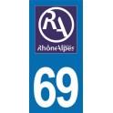 Autocollant Moto Département 69 du Rhône