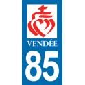 Autocollant Moto Département 85 de la Vendée Coeur de Jésus