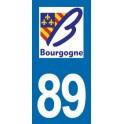 Autocollant Moto Immatriculation 89 - l'Yonne