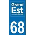 Autocollant Moto Département 68 du Haut Rhin nouvelle région Grand Est