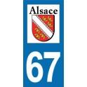 Autocollant Moto immatriculation 67 - Bas-Rhin
